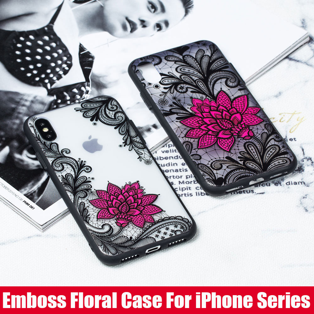 KIPX1059_1_JONSNOW Phone Case for iPhone 5S 6S 7 8 Plus Emboss Floral Rose Lace Protective Case for iPhone X XR XS Max PC Back Cover