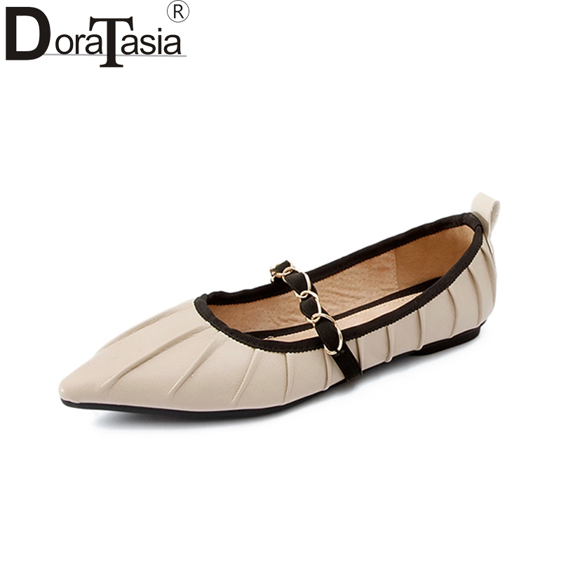 DoraTasia 2018 Top Quality Genuine Leather Spring Summer Shoes Women Flats Comfortable Date Party Cow Leather Woman Shoes ribetrini 2018 top quality slik upper crystals slip on spring summer shoes women flats comfortable date easy for walking