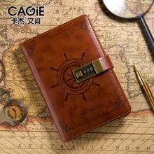 B6 brown Vintage Notepad Notebook Diary Daily Memos Planner Agenda Notebook Pu Leather Sketchbook with lock