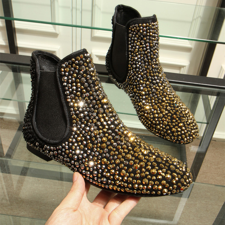 2018 Black Gold Rhinestone Ankle Boots Women Shoes Flats -8927