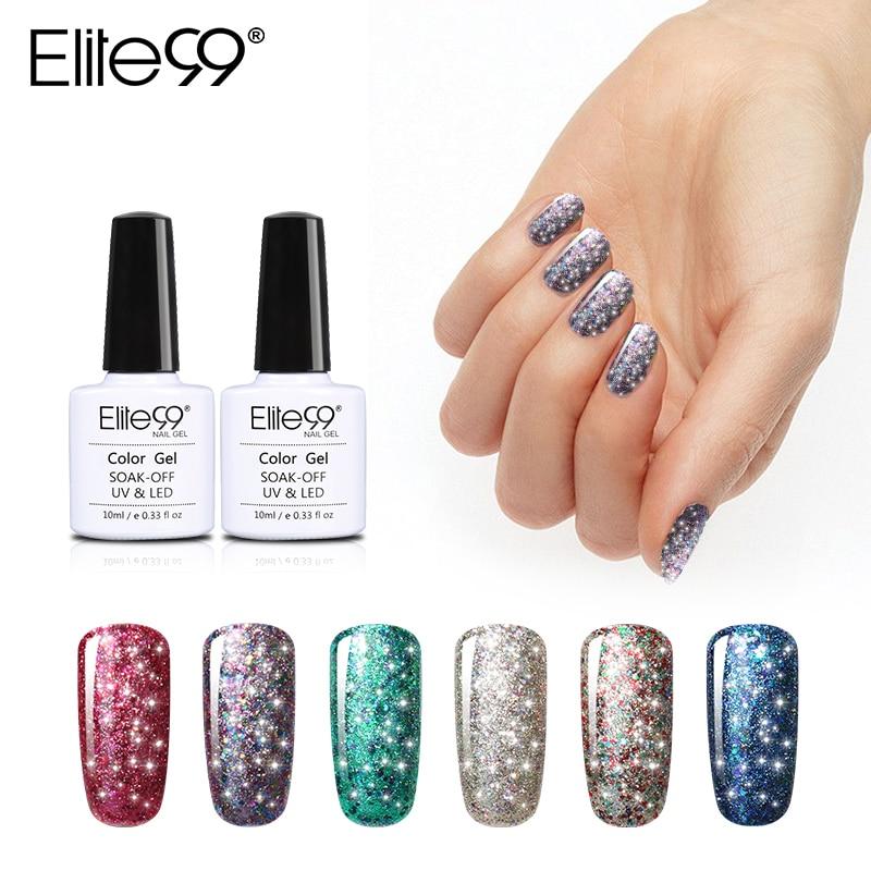 Elite99 10ml Super Bling Gel Nail Polish Soak Off Shining Starry UV LED Gel Polish Long Lasting DIY Nail Art Design Gel Varnish
