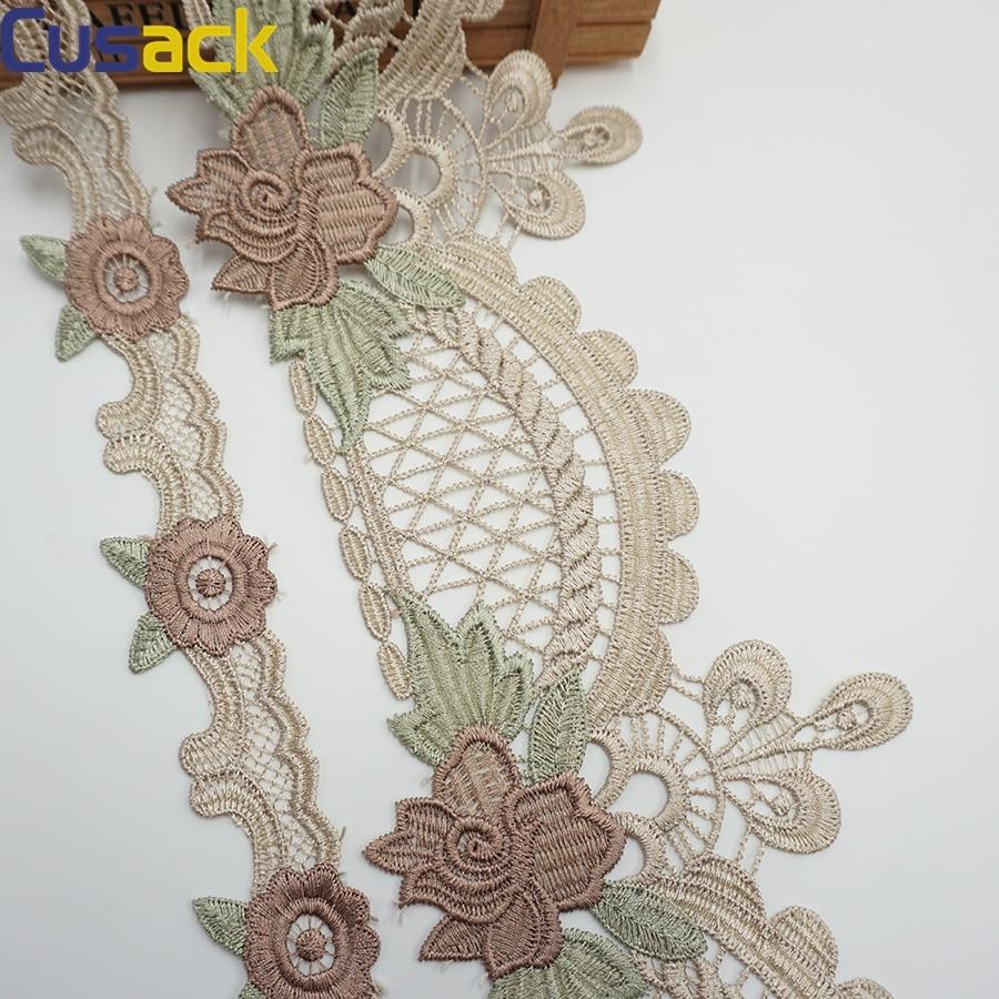 Adornos de cinta de encaje de flores bordadas de algod/ón blanco de 3 metros para prendas de vestir accesorios de costura de apliques adornos de textiles para el hogar 1