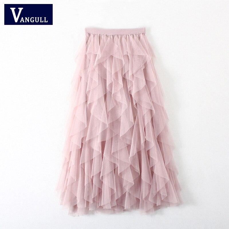 Vangull Tutu Tulle Skirt Women Long Maxi Mesh Skirt 2019 New Spring Summer Korean Black Pink High Waist Pleated Skirt Female