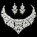 Custom Fees Cost Free Shipping Hot Selling Heart design Full Rhinestone Fashion jewellery Wedding Jewelry Set earring+necklace