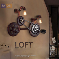E27 Edison Loft Industrial Iron Pipe Wooden Gear LED Lamp Wall lamp Wall Light Wall Sconce Outdoor Lamp For Bar Store
