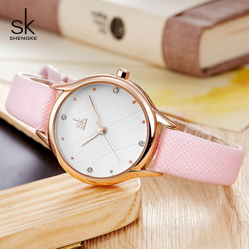Shengke Women Wrist Watch Top Brand Fashion Leather Women Watches Luxury Crystal Ladies Quartz Watch 2018 Reloj Mujer #K8013
