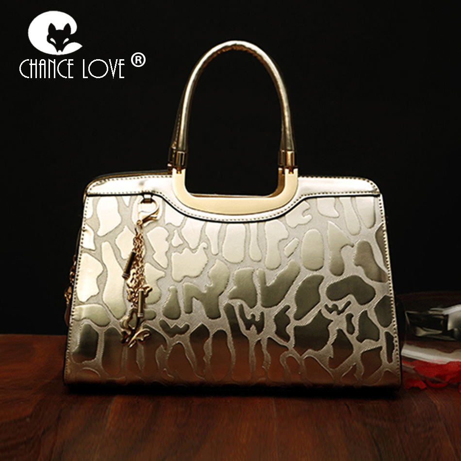 Chance Love 2018 new luxury Genuine leather handbags patent leather crocodile pattern ladies handbag shoulder Messenger bag chance love 2018 new genuine leather women s handbag oil wax leather fashion wild crocodile pattern shoulder bag messenger bag