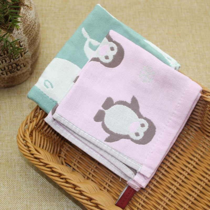 Random Two Loaded Newborn Baby Bibs Three Layers Gauze Cute Cartoon Double-Sided Pattern ...
