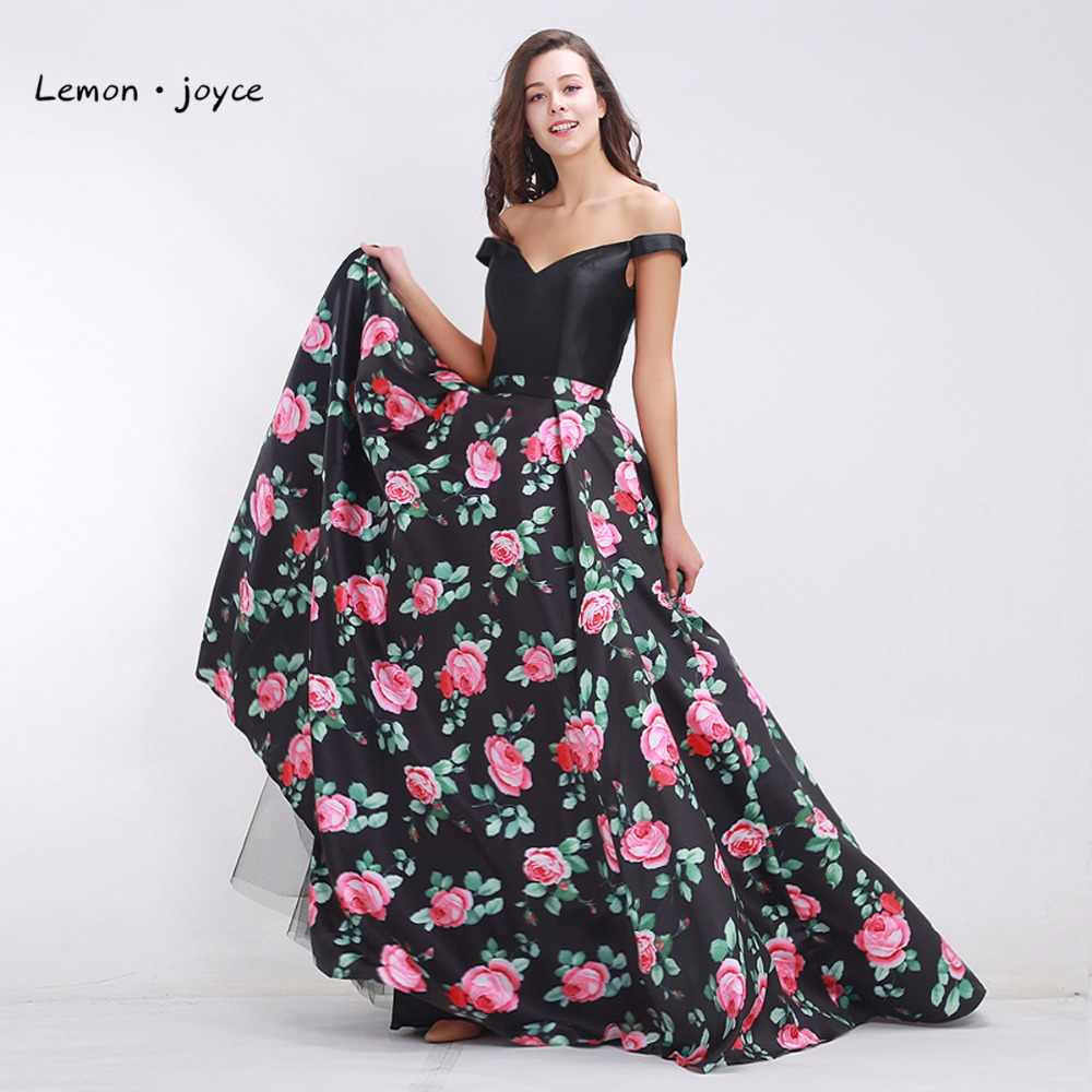 703c6f5450 Detail Feedback Questions about Black Prom Dresses 2019 Fashionable Off the  Shoulder Elegant Floral Print A line Maxi Long Women's Formal Dress Plus  Size on ...