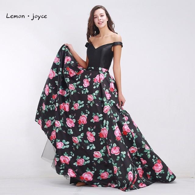 6cf406467ceb Black Prom Dresses 2019 Fashionable Off the Shoulder Elegant Floral Print  A-line Maxi Long Women s Formal Dress Plus Size
