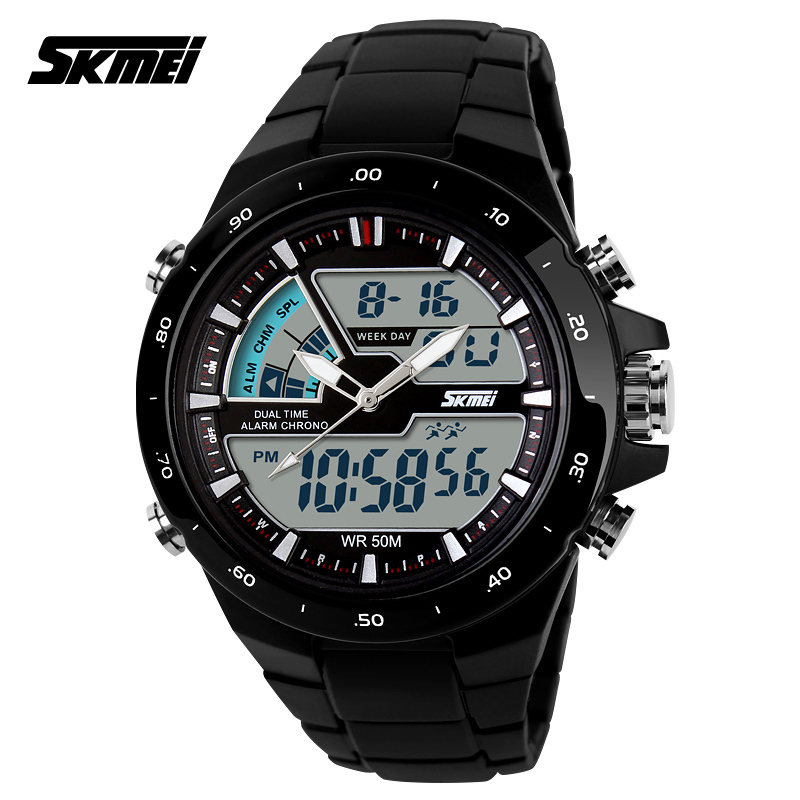 Young Men Sports Military Watch Casual Dress Wristwatches 2 Time Zone Digital Quartz LED Watches