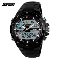 New 2014 Skmei Brand Young Men Sports Military Watch Fashion Casual Dress Wristwatches 2 Time Zone