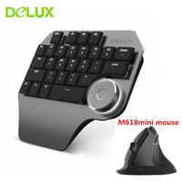 Delux T11 Wired Single Hand Keyboard Dual Mode M618 Wireless Mouse Combo Designer Customizable Shortcuts Keypad For PC Gamer