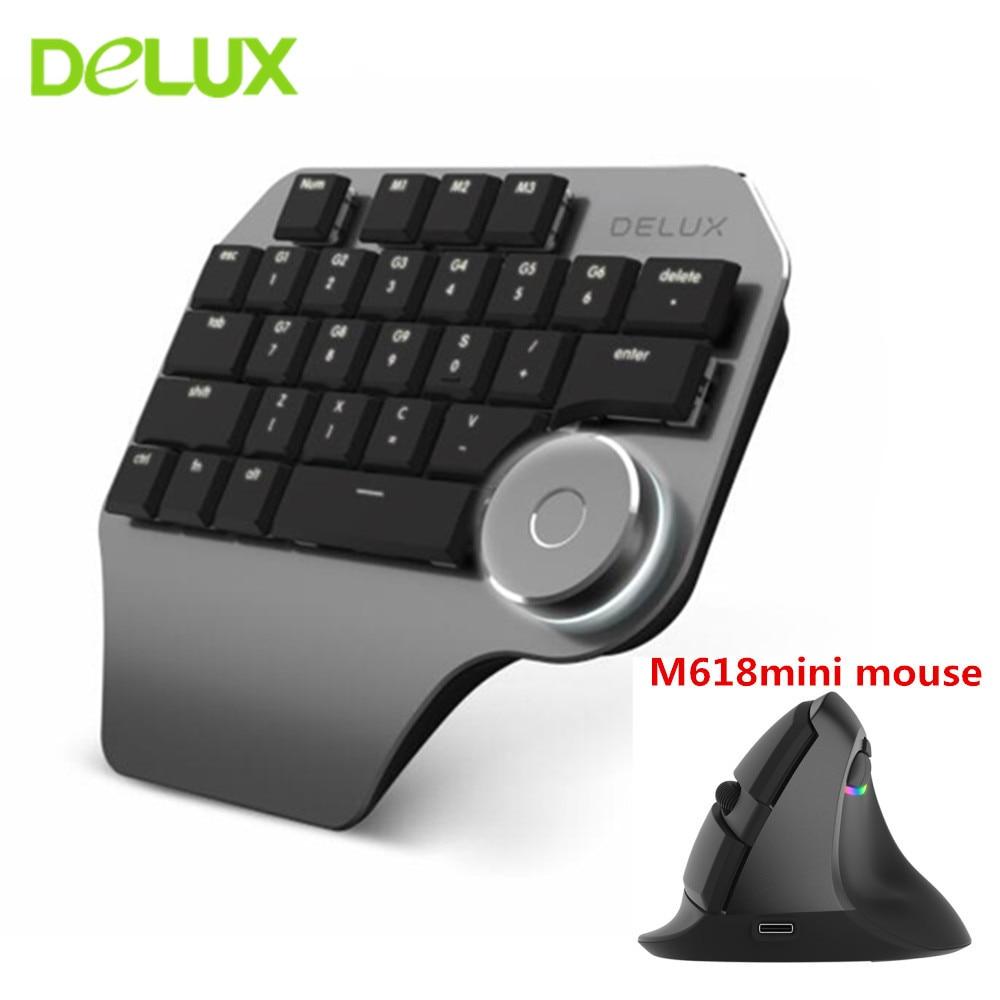 Delux teclado de diseñador T11 con cable USB, periférico de Mano individual, teclado ergonómico, ratón Vertical inalámbrico, Kit de jugador para ordenador portátil y PC