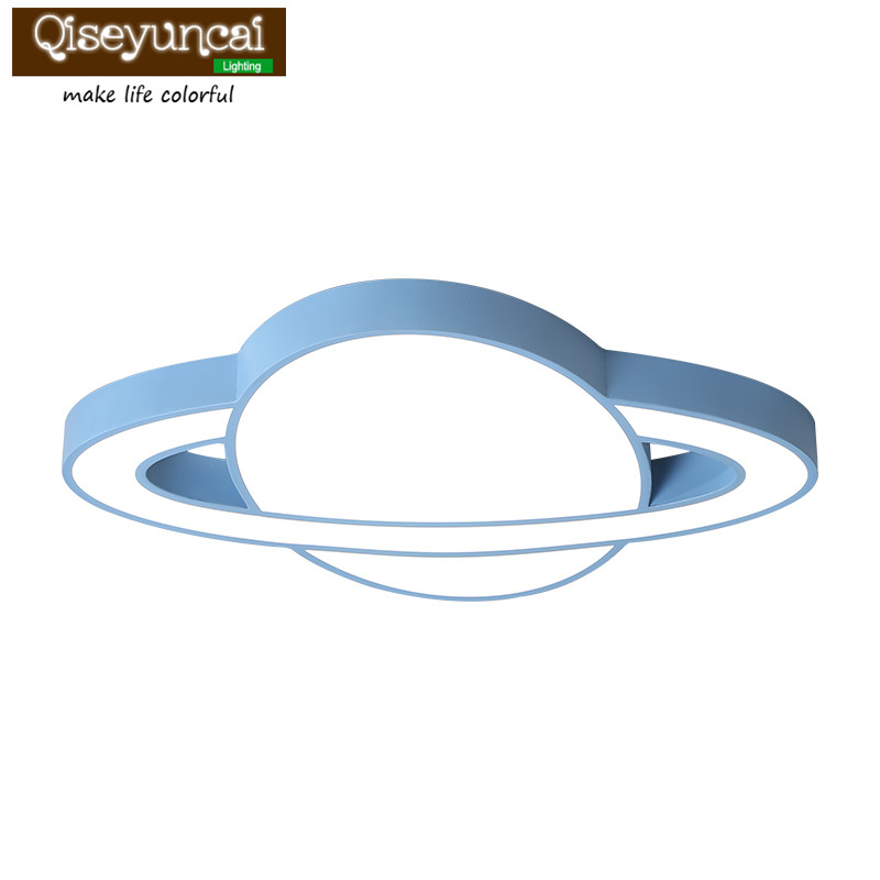 Qiseyuncai Modern children bedroom spaceship led ceiling lamp boy girl simple eye protection study macarons lamps Ceiling Lights     - title=