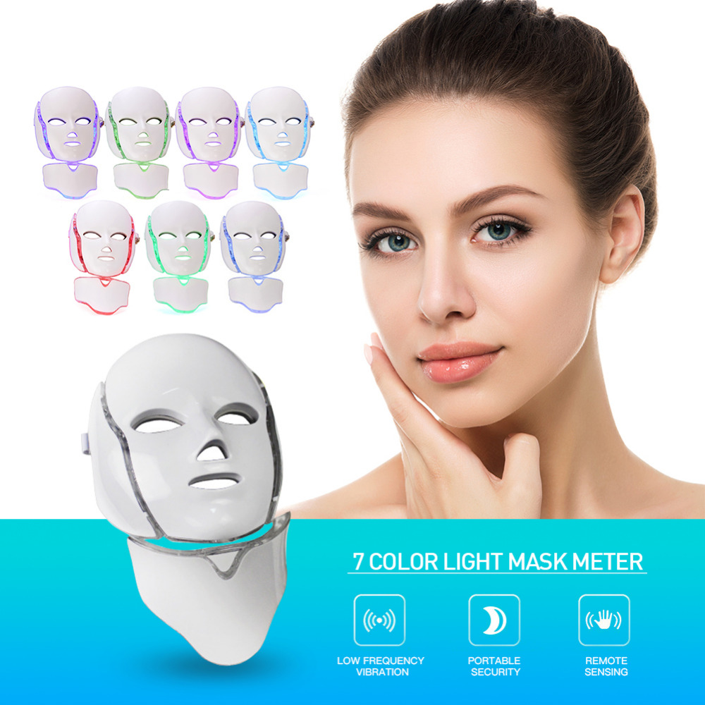 7 Colors Beauty Therapy LED Facial Mask Photon Facial Steamer Wrinkle Acne Removal Face Beauty Machine Spa Instrument7 Colors Beauty Therapy LED Facial Mask Photon Facial Steamer Wrinkle Acne Removal Face Beauty Machine Spa Instrument