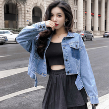 Women Vintage Irregular Cropped Denim Jackets Female Fashion Long Sleeve Jean Jackets BF Wind Spring Casual Slim Short Coat