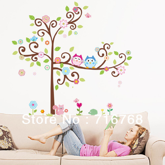 SCROLL TREE WALL DECALS Giant Baby Nursery Stickers Owls Floral Bedroom Decor