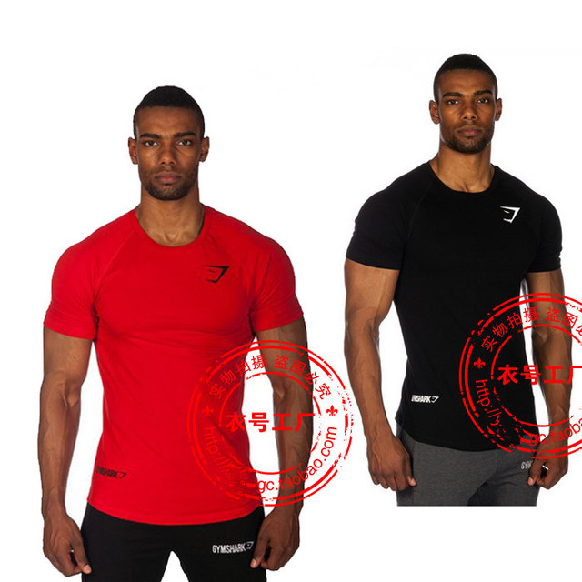 aaa6a473f Gym Shark Fit T-shirts Bodybuilding and Fitness T Shirts Men 100% Cotton  Short Sleeve Tees Training and Workout tshirt
