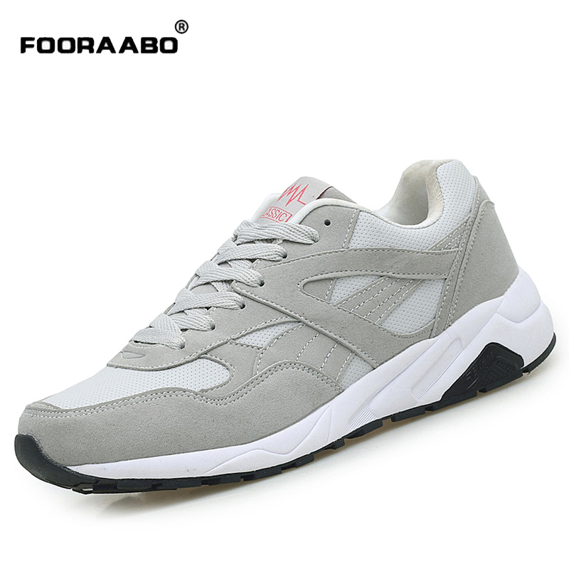 FOORAABO 2017 New Fashion Luxury Brand Mens Casual Shoes Autumn Breathable Men Leather Shoes Flat Hot Sale Male Zapatillas