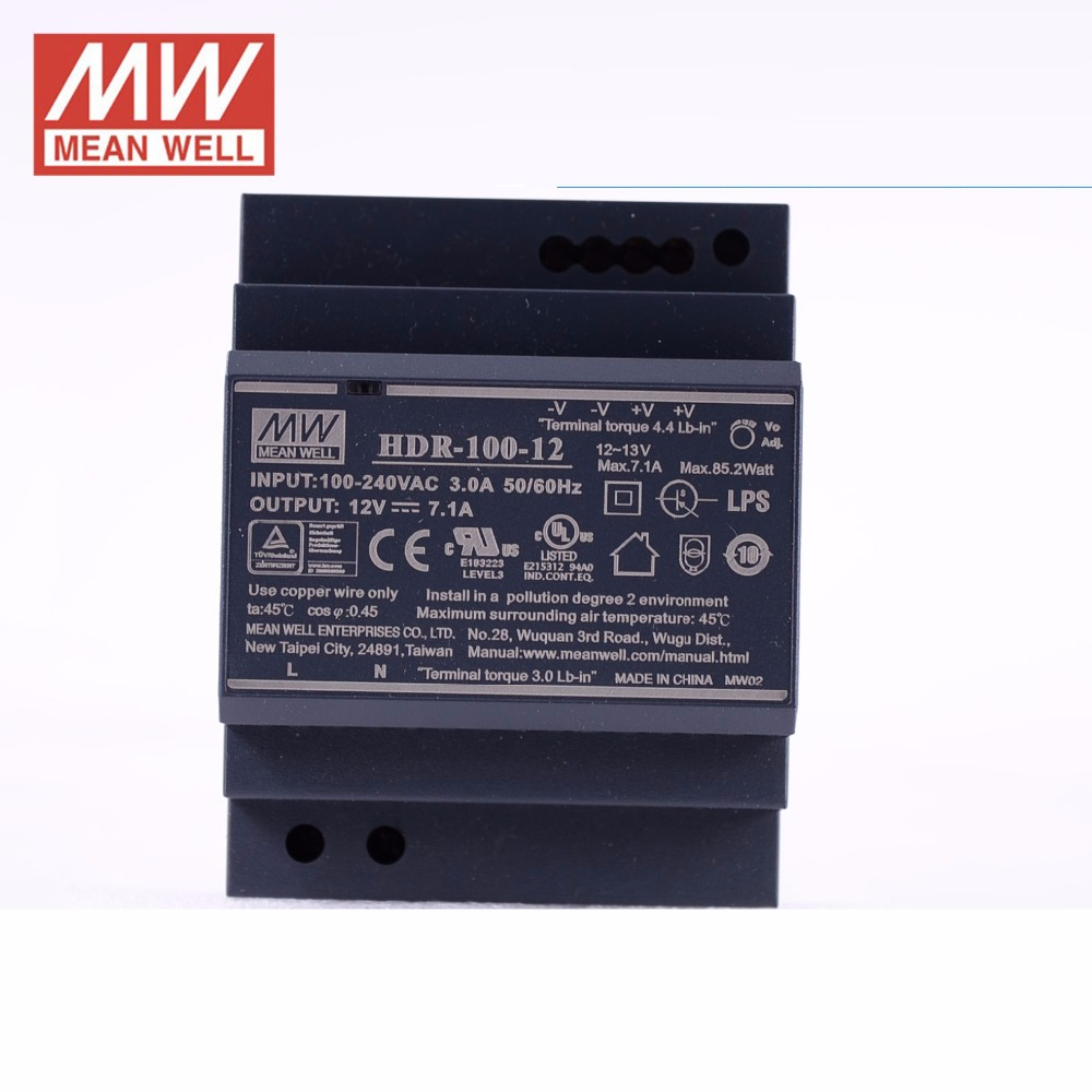 Original MEAN WELL HDR-100-12 7.1A 12V 85.2W meanwell Ultra slim step shape DIN Rail Power Supply DC output adjustable original mean well hdr 100 24 3 83a 24v 92w meanwell ultra slim step shape din rail power supply dc output adjustable