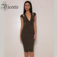 Final Price Free Shipping Fashion Khaki Olive Cut Out Design Deep V Neck Bodycon Collection Club