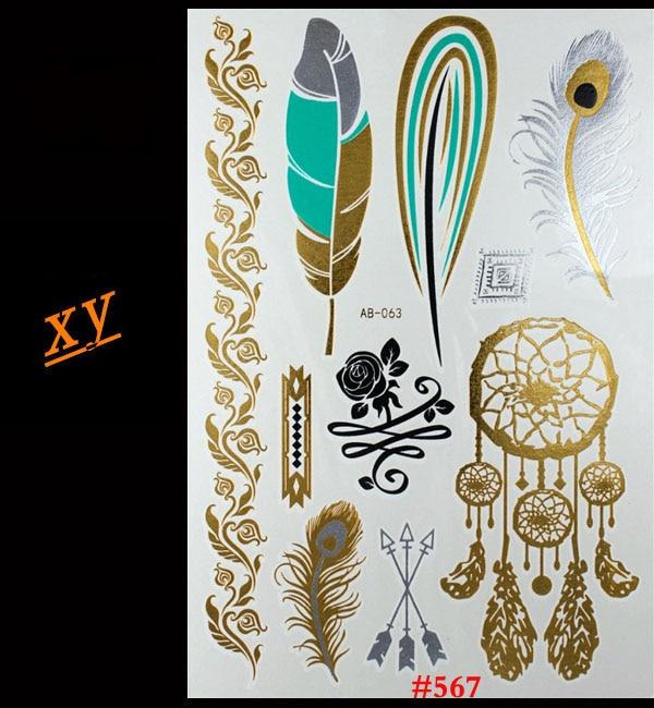 Tattoo Cost In India: Indian Feather Jewelry Sticker Tattoo Metallic Golden