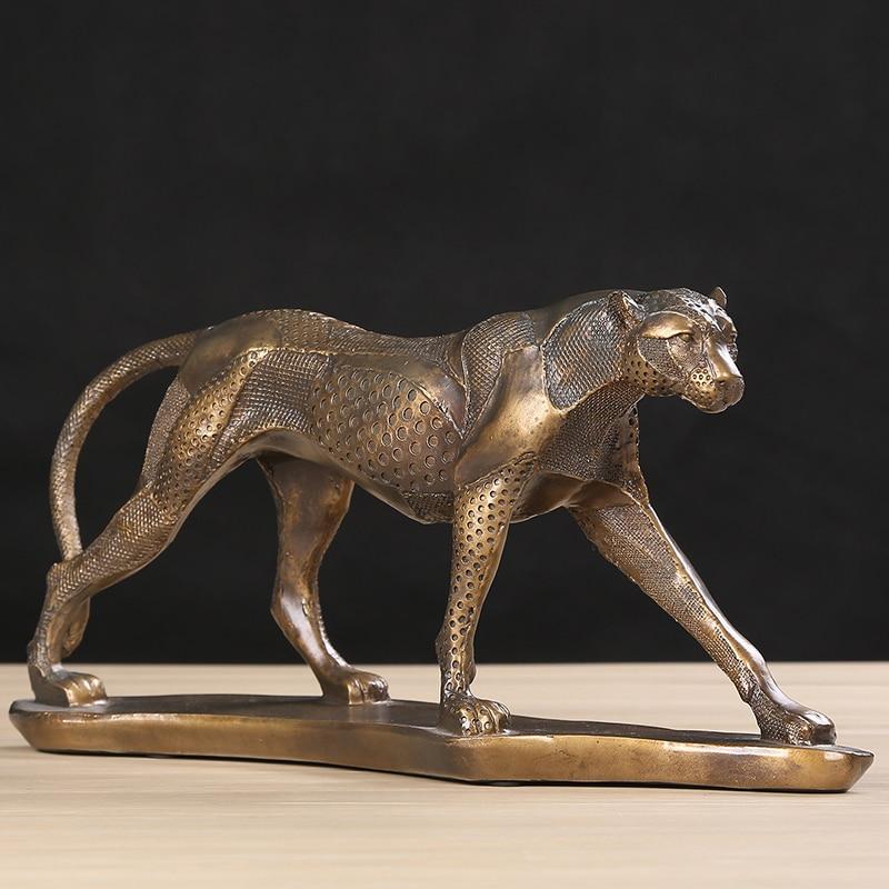 Vintage Leopard Sculpture Handmade Polyresin Cheetah