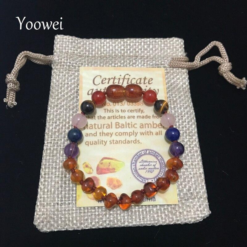 Yoowei Amber Bracelet Anklet Handmade Original Natural Gems Amethyst Jewelry Baltic Amber Baby Teething Necklace for Kids Women