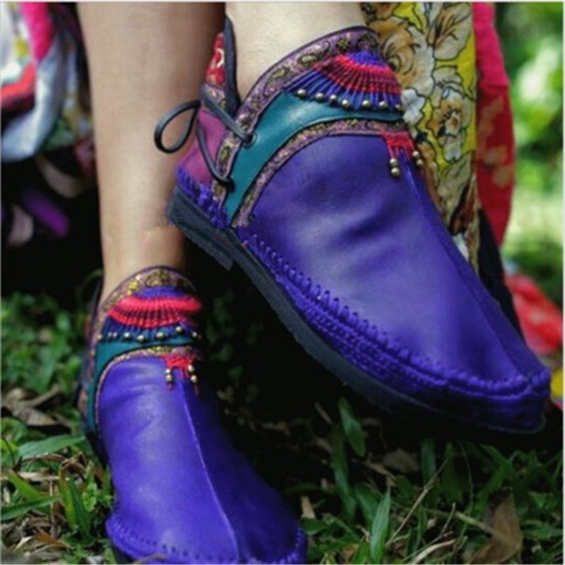 2019 New Women Genuine Leather Short Boots Winter Short Boots Retro Casual Boot Hand-Stitched Flowers Shoes Ethnic Style Blue2019 New Women Genuine Leather Short Boots Winter Short Boots Retro Casual Boot Hand-Stitched Flowers Shoes Ethnic Style Blue