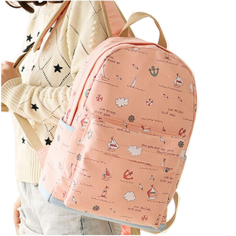 US $19 59 30% OFF|Canvas Backpack Women Printing Should Bags Preppy Style  Cute Girl Backpacks Fashion Canvas Bag Big Capacity Size: 44*31*14cm-in