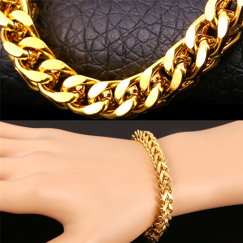 U7 Bracelet Men Jewelry Gold Color Wheat ChainLink Wholesale Trendy