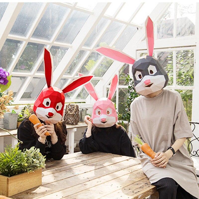 Party Mask Halloween Rabbit Head Masks Masquerade Cosplay Bunny Masque DIY Paper Mascara 3D Decor Carnaval Acessorios Creative
