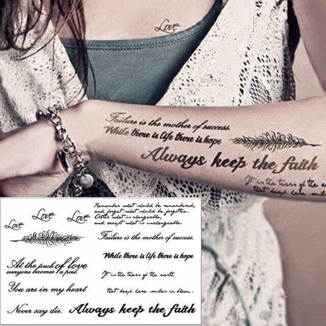 1 Sheet New 21 15cm English Word Temporary Tattoo Stickers Black