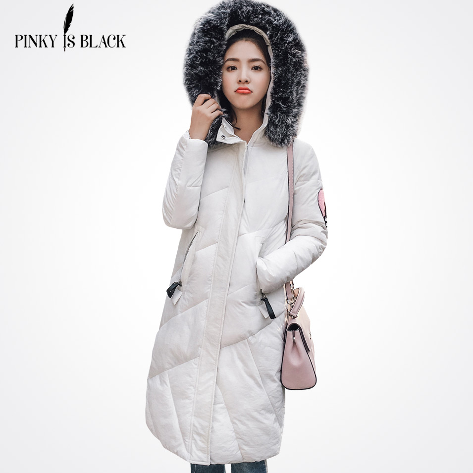 Pinky Is Black 4 Colors Women Coat 2017 Winter Warm Cotton Padded Jacket Faux Fur Hooded Collar Outwear Long Parkas Female Slim pinky is black new warm long winter women jacket hooded cotton padded parkas wadded down cotton basic coat casacos feminino