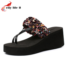 Summer Platform Sandals Thick High Heeled Shoes font b Women b font Flip Flops Flowers Slippers