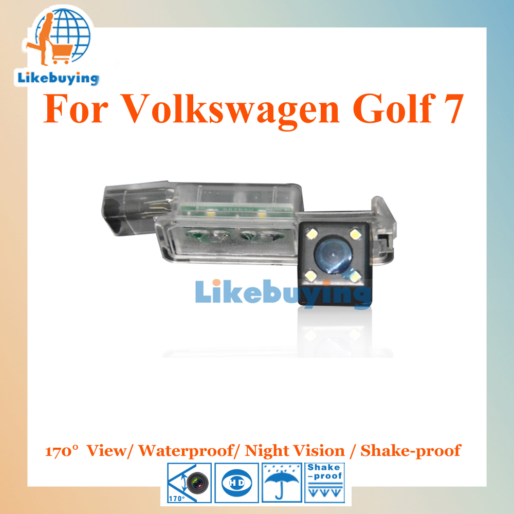 1/4 Color CCD HD Rear View Camera / Reverse Camera / Parking Camera For Volkswagen Golf 7 Night Vision / Waterproof / LED Lights