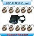 50 unids + 1 Lector de 125 Khz de Proximidad RFID tag Keyfob Rfid de Control de Acceso token llavero de cristal