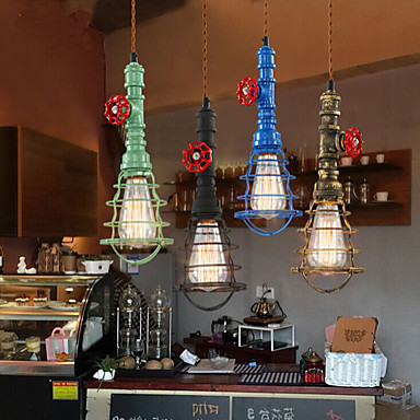 Edison Retro Vintage Lamp Loft Industrial Pendant Light Fxitures Dinning Room Water Pipe Lighting Lamparas 5 Color Lampshade retro loft industrial vintage led pendant lights fxitures with glass lampshade dinning room lamp lamparas colgantes