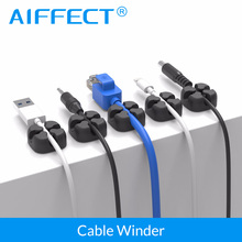 AIFFECT 12Pcs Silicone Cable Winder Desktop Cable Organizer Cable Clip Cord Management Multipurpose Cables Holder For Earphone