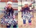 78-128 см высота Новая весна и осень детская Толстовка С Капюшоном Детские лук 100% хлопок пальто Принцесса пастырской стиль куртка