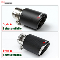 54mm 76mm Carbon Fiber Coated Universal Car Exhaust Pipe Tip Tailtip Akrapovic Car Exhaust For Volkswagen