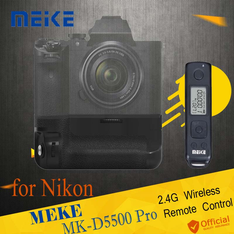 Meike MK-D5500 Pro 2.4G Wireless Remote Control Vertical Battery Grip Holder Shutter for Nikon D5500 camera EN-EL14 EN-EL14a meike mk dr750 vertical battery grip pack holder for nikon d750 rechargeable li ion battery for nikon en el15 cleaning kit