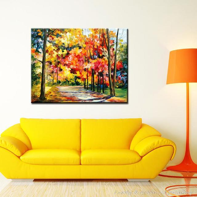 Hand Painted Modern Home Decor Living Room Hall Wall Art Picture Tree Oil Painting On