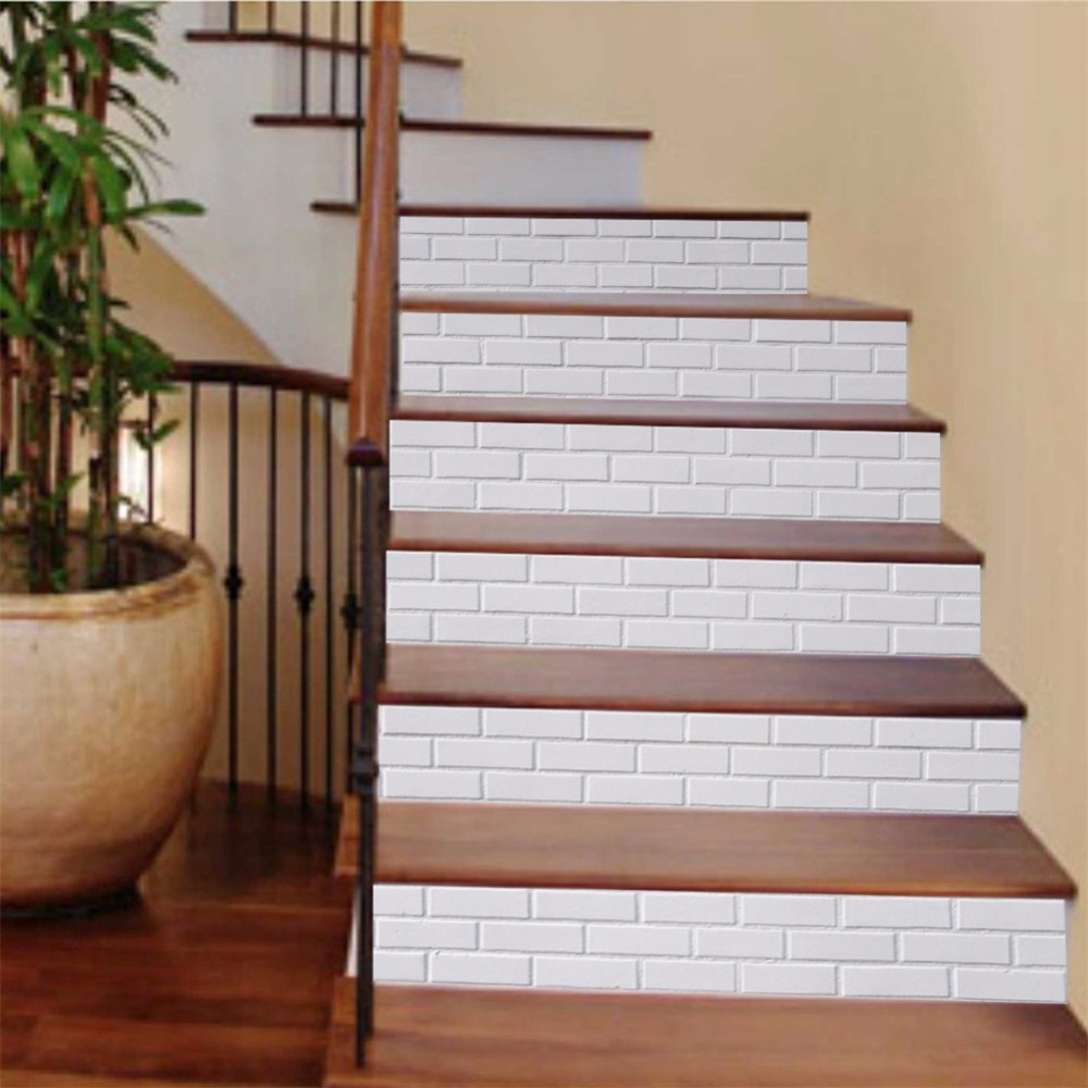 58 Cool Ideas For Decorating Stair Risers: Yanqiao White Brick Stair Sticker Wall Decor Self Adhesive