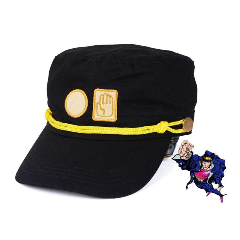 JOJO Chapeau Cosplay Anime JoJo Bizarre Adventure Kujo Jotaro Joseph Armée Militaire Chapeau + Insigne de Soleil Ombrage Chapeau Garçon Hip-Pop Cap Cool
