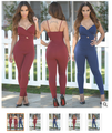 922 Rompers Women Jumpsuit Skinny Spaghetti Strap Sexy Full Bodysuits 2016 V-neck Slim Backless Sleeveless Red Combinaison Femme