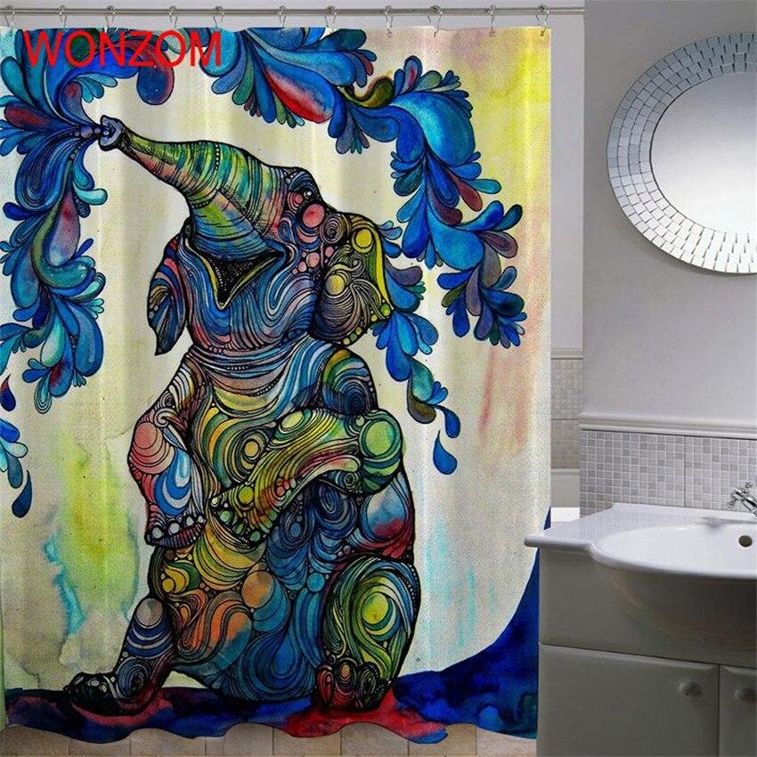 WONZOM 3D Elephant Shower Curtain with 12 Hooks For Bathroom Decor Modern Polyester Bath Waterproof Curtain Bathroom Accessories in Shower Curtains from Home Garden