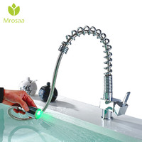 Spring Type Brass Pull Out Kitchen Faucet 3 Color Changing Torneira Led Temperature Sensor 360 Rotation Hot Cold Mixer Water Tap