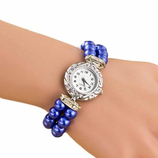 Charm Bracelet watch women Fashion Quartz wristwatch Top Brand Golden Pearl Brac